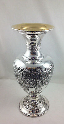 Stunning Sterling Silver Flower Vase Very Tall Italian Gorgeous Design 925 1612g