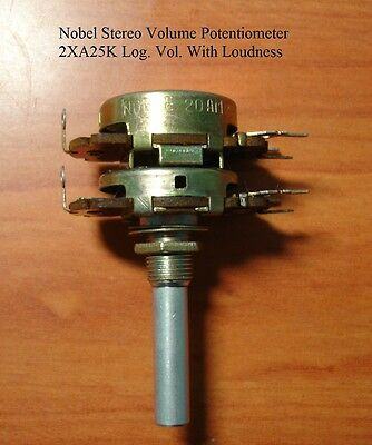 Potentiometer A2X25K Log NOBEL Audio Amp Volume Control Pot Stereo W Loudness