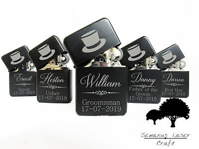 Personalised Top Hat Wedding Favours gift lighter in Tin. Free engraving LTR8