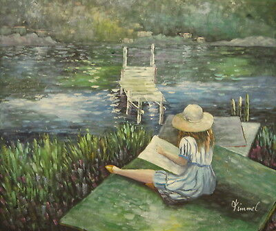 Girl sketching by river 24x20 OIL PAINTING on flat canvas signed KIMMEL