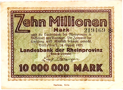 1923 Germany RHEINPROVINZ 10.000.000 / 10 MILLION Mark Banknote