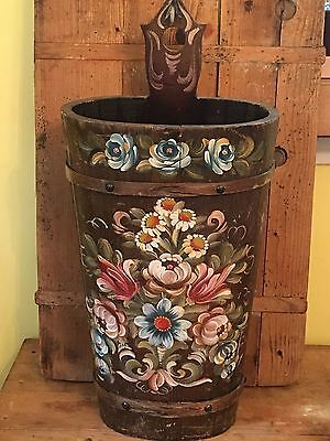 Vintage Tole Toleware Hand Painted Painting Roses Umbrella Stand Wood Wooden