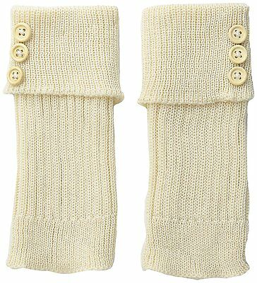 K. Bell Women's Turn Cuff and Button Boot Cuff, Off-White, 9-11