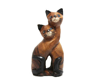"""Hand Carved Wooden Loving Cat, 5.5"""" tall, Home and Office Decor, Cute Twin Cat"""