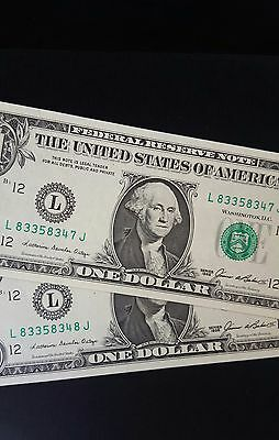 1985 $1 United States Banknote - (Consecutive Pair)  Unc.....