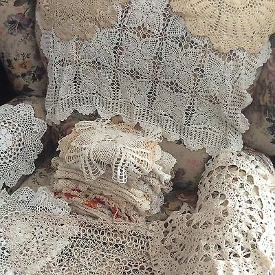 Vintage lot of 50 cotton Crochet lace handmade Doilies.