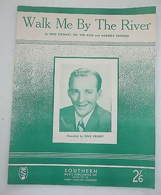 bing crosby vintage sheet music walk me by the river piano guitar voice