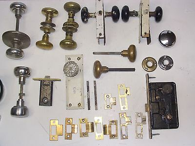 Vintage Yale Mortise Lock Set Mixed Lot Door Hardware pieces Glass Brass