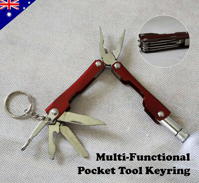 Stainless Steel Pocket 6 in 1 Keychain Multi Tool Keyring Folding Pliers Torch