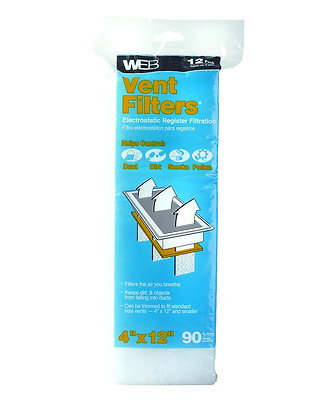 Floor Air Vent Register Dust Filters, Electrostatic, 12 Count, New, Free Shippin