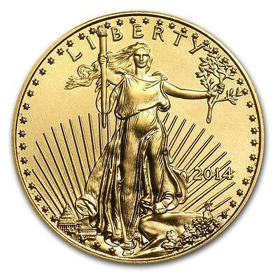 2014 1/10 oz ounce Gold US American Eagle USA BU coin $5 Uncirc in capsule