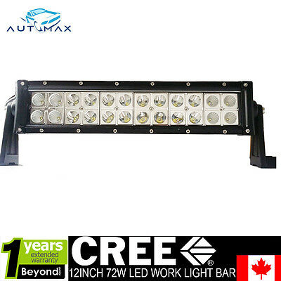 12 inch 72W Led Light Bar Spot Flood Combo Offroad Driving Lamp 4WD SUV ATV Boat