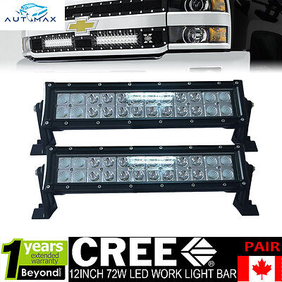 2x 12inch 72W Led Work Light Bar Flood Spot Jeep Driving Offroad 4WD UTE Lamp 14