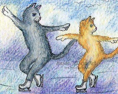 Ice skating duo cats 8x10 print figure attitude ginger silver grey tabby duet