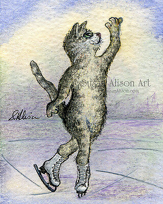 Ice skating silver grey tabby cat 8x10 print figure spin attitude position