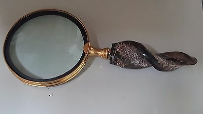 Magnifying Glass - Sheep horn handle Vintage Brass Nautical Hand Lens