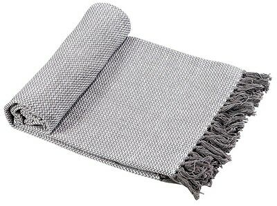 EHC Wave Large 100% Cotton Sofa Armchair Bed Blanket Throw, 150 x 200 cm, Grey