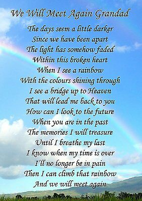 We Will Meet Again Grandad Memorial Graveside Poem Card & Free Ground Stake F132