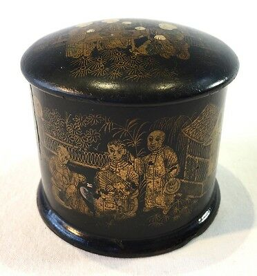 19th Century Oriental Black Lacquer Chinoiserie Dressing Table Box