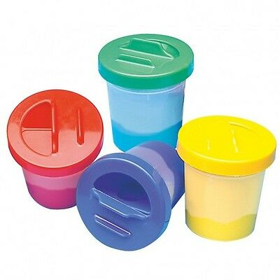 Paint Pot With Slide Lid Set of 4 (Red/Blue/Green/Yellow) Kids Art Crafts