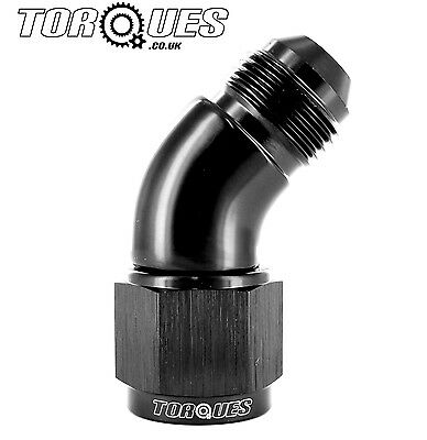 AN -10 (10AN) 45 Degree Male to Female UltraFlow Adapter In Black