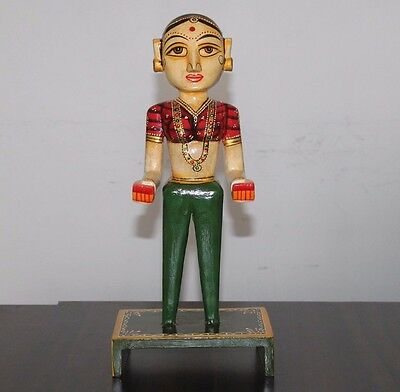 Indian Handicraft Antique Beautiful Style Handmade Painted Wooden Women Statue