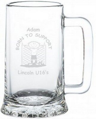 PERSONALISED Novelty Any FOOTBALL Team Glass Tankard Gift Ideas For Fathers Day