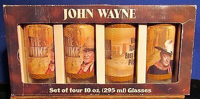John Wayne Western Images Signature and Phrases 10 Oz Glass Set of 4 In Box