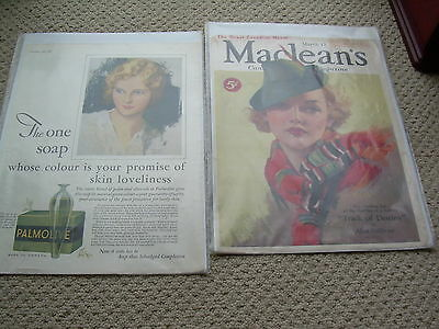 2 Vintage Magazine Collectables MacLean's Cover Only1935 & Chatelaine page 1933