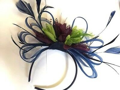 BESPOKE Navy Blue Lime Green Purple Fascinator Headband UK Wedding Ascot Races