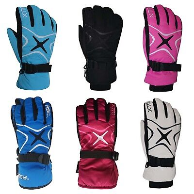 XTM Les Star Ladies Warm Winter Snow Ski Gloves Sz XS - L Pink White Aqua Black