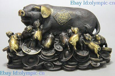 China brass feng shui sculpture carved money Sycee Yuab Bao many pigs Statue