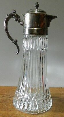 """Vintage Glass Decanter pitcher with silver plated spout Made in Italy 14"""" tall"""