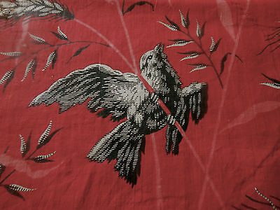Antique 19thc Red Black Pink White Bird Wheat Cotton Fabric ~ #2