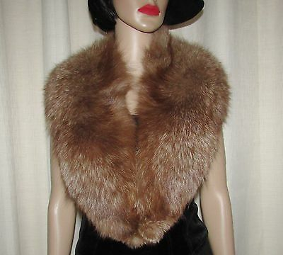 "Vintage  Superbe Butterscotch  Brown Fluffy Shawl Fox Fur Collar  47"" X 4"""