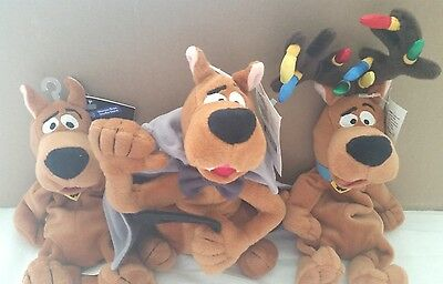 SCOOBY DOO Bean Bag Plush LOT OF 3 Halloween & Christmas Stuffed Toys NWT