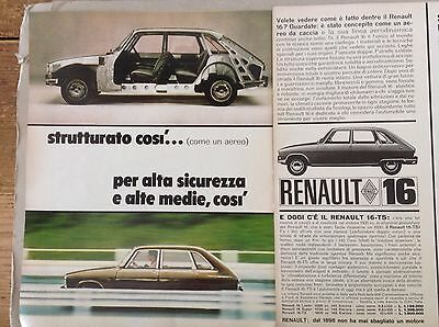 *ADVERTISING PUBBLICITA' RENAULT 16 per alta sicurezza -- 1968