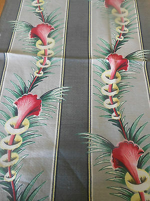 Vintage Tropical Floral Foliage Barkcloth Fabric ~ Gray Red Pink Yellow Green