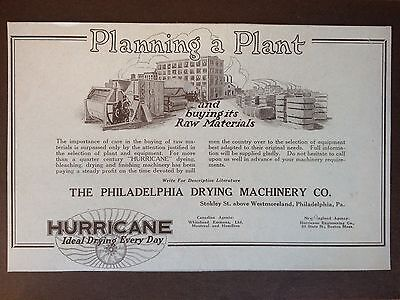 Vintage 1922 Ad {E22}~Hurricane Drying Machine. Phil. Pa. Textile Mill Machinery