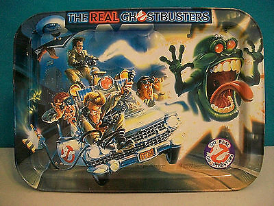 The Real Ghostbusters Tv Meal Metal Folding Tray Vintage 1986 Nice Condition!