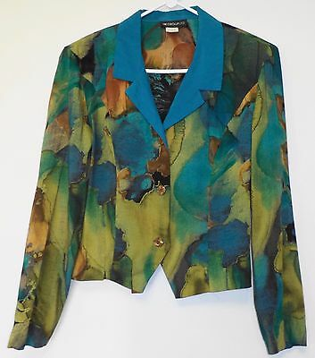 In Group Ltd. Womens Vintage Jacket Blazer 6 Turquoise Rayon Long Sleeve Size XL