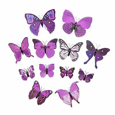 Art Design Decal Wall Stickers 3D Butterfly Stickers Home Decor Room 12pcs SN