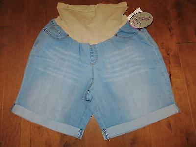 NEW 2X Planet Motherhood Maternity SecretFit Jean Shorts LightWash Plus Size NWT