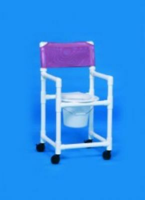 Shower Commode Chair With Arms PVC Mesh Back 21 ""