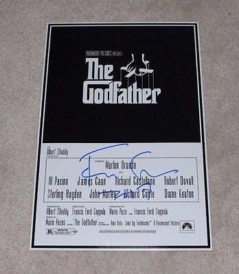 DIRECTOR FRANCIS FORD COPPOLA SIGNED 'THE GODFATHER' 12x18 MOVIE POSTER W/COA