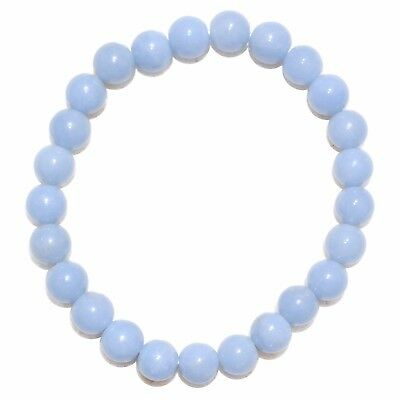 Premium CHARGED Angelite Crystal 8mm Bead Bracelet Stretchy ENERGY REIKI