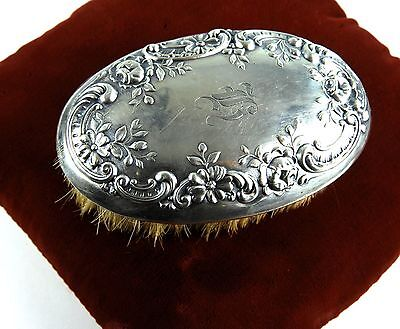 Vintage Art Nouveau Sterling Silver Clothes or Vanity Hair Brush Signed Repousse