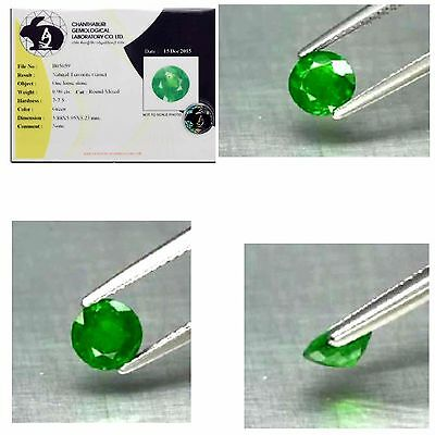 Certified 0.90ct 6mm Round Natural,  Medium Green Tsavorite Garnet, Glowing