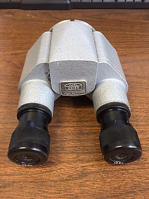Carl Zeiss Straight Binocular, model F=160 w/ two 12.5X Eye Pieces. NO RESERVE.
