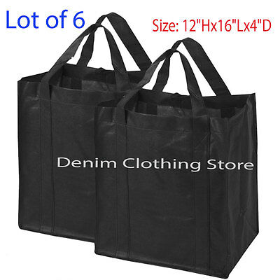 6pcs BLACK SHOPPING BAGS ECO FRIENDLY REUSABLE RECYCLABLE GIFT PROMO BAG Lots
